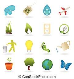 limpo, meio ambiente, símbolos