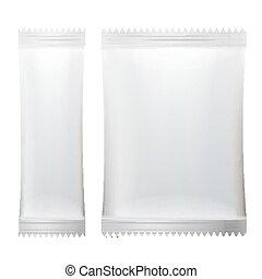 limpo, sachet, isolado, ilustração, packaging., realístico, vara, vector., em branco, branca, vazio
