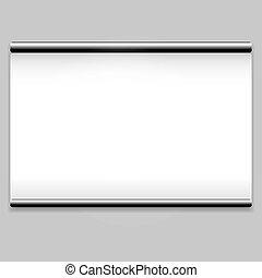 limpo, tela branca, fundo, projetor