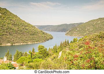 limski, 運河, -, 界標, ......的, istrian, 半島