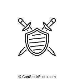 linéaire, épées, vecteur, traversé, icône, bouclier