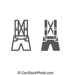 linéaire, arrière-plan., cuir, modèle, bavarois, lederhosen, signe, traditionnel, vecteur, pantalon, graphiques, icône, ligne, vêtements, glyph, pantalon blancs