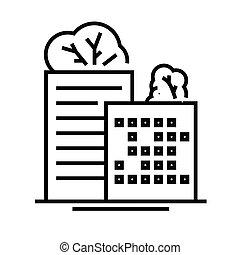 linéaire, bâtiments, signe, contour, ligne, icône, eco, illustration, symbole., vecteur, concept