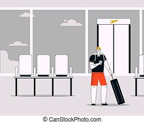 linéaire, bagage, aéroport, sourire, vecteur, illustration, homme