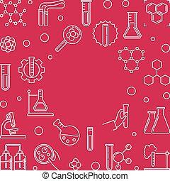linéaire, chimique, vecteur, fond, chimie, rouges, frame.