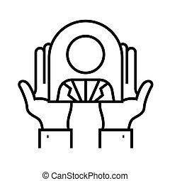 linéaire, concept, contour, nouveau, icône, symbole., signe, ouvrier, vecteur, ligne, illustration