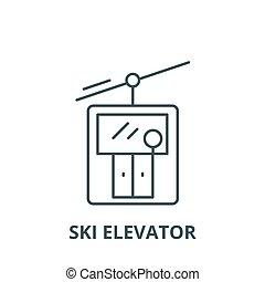 linéaire, concept, symbole, ascenseur, signe, vecteur, icône, ligne, ski, contour