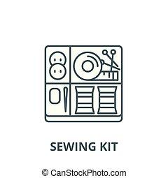 linéaire, concept, symbole, couture, kit, signe, vecteur, icône, ligne, contour