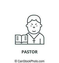linéaire, concept, symbole, pasteur, signe, vecteur, icône, ligne, contour