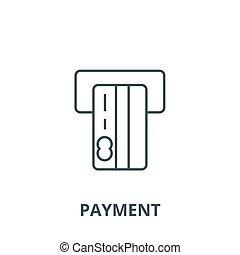 linéaire, concept, symbole, signe, vecteur, icône, ligne, paiement, contour