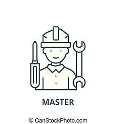 linéaire, concept, symbole, signe, vecteur, maître, icône, ligne, contour