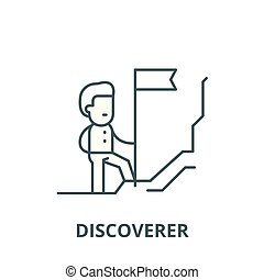 linéaire, découvreur, concept, symbole, signe, vecteur, icône, ligne, contour