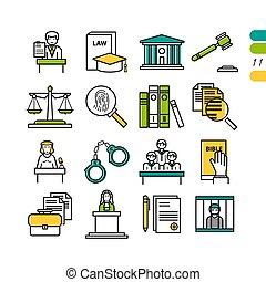 linéaire, ensemble, coloré, judiciaire, icônes