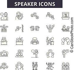 linéaire, ensemble, icônes, illustration, concept, vecteur, orateur, ligne, signes, contour