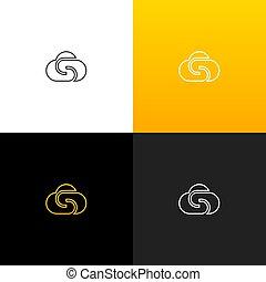 linéaire, gradient., sociétés, jaune, s, s., lettre, marques, logo, nuage