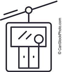 linéaire, illustration, concept., ascenseur, symbole, vecteur, ligne, signe, ski, icône
