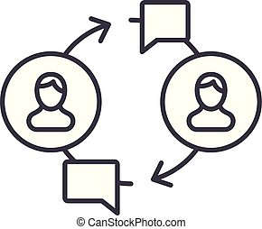 linéaire, illustration, concept., communauté, symbole, vecteur, ligne, signe, icône