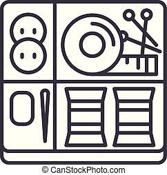 linéaire, illustration, concept., couture, signe, vecteur, symbole, ligne, kit, icône