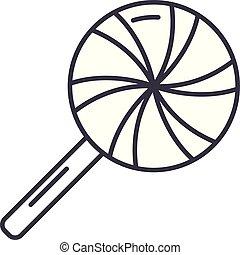 linéaire, illustration, concept., glaçon, symbole, vecteur, ligne, signe, icône