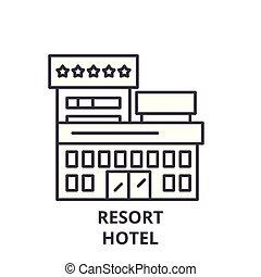 linéaire, illustration, concept., hôtel, symbole, recours, vecteur, ligne, signe, icône
