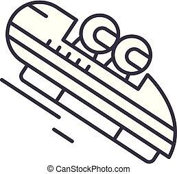linéaire, illustration, concept., symbole, vecteur, ligne, signe, luge, icône