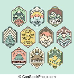 linéaire, insignes, 1color, montagne