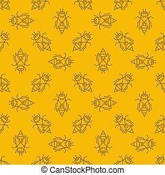 linéaire, modèle, seamless, jaune, abeille, vecteur, fond, ou