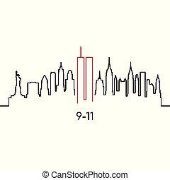 linéaire, new york, silhouette.