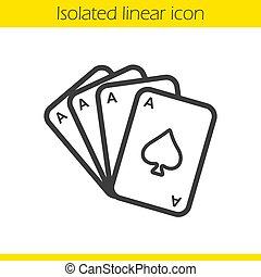 linéaire, quads, poker, icône, as