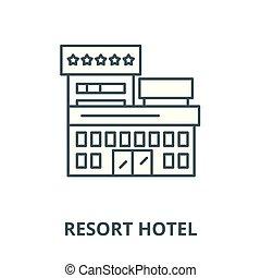 linéaire, recours, concept, symbole, hôtel, signe, vecteur, icône, ligne, contour