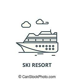 linéaire, recours, concept, symbole, signe, vecteur, icône, ligne, ski, contour