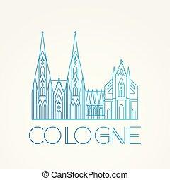 linéaire, repères, cologne, célèbre, europe.., vecteur, cathedral., plus grand, koln, mondiale, icône, germany.
