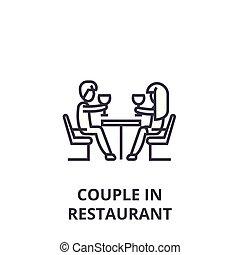 linéaire, restaurant, signe, couple, symbole, concept, vecteur, mince, illustation, icône, ligne