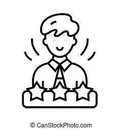 linéaire, signe, contour, ligne, icône, illustration, symbole., vecteur, concept, employé, mois