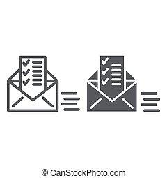 linéaire, signe, liste, enveloppe, email, arrière-plan., vecteur, envoyé, modèle, graphiques, icône, blanc, document, ligne, courrier, glyph