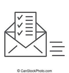 linéaire, signe, liste, envoyé, enveloppe, email, arrière-plan., vecteur, mince, modèle, graphiques, icône, blanc, document, ligne, courrier