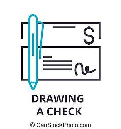 linéaire, signe, symbole, concept, vecteur, mince, illustation, icône, dessin ligne, chèque