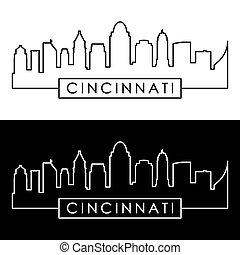 linéaire, style., cincinnati, skyline.