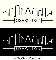 linéaire, style., edmonton, skyline.