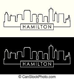 linéaire, style., hamilton, skyline.