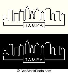 linéaire, style., tampa, skyline.