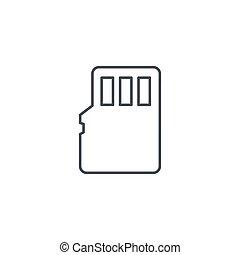 linéaire, symbole, flash, vecteur, mince, mémoire, ligne, icon., carte, sd