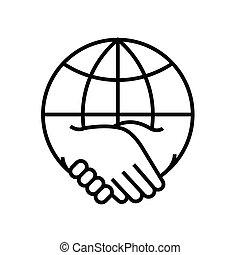 linéaire, vecteur, association, mondiale, ligne, symbole., icône, illustration, contour, signe, concept