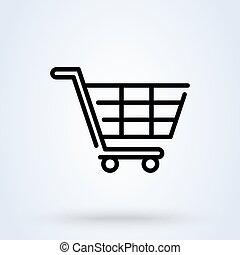 linéaire, vecteur, charrette, achats, illustration, ligne, ...