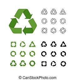 linéaire, vecteur, collection, grand, simple, style, icônes, divers, recycler, réutilisation, plat