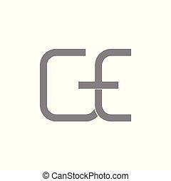 linéaire, vecteur, logo, ge, simple, lettre