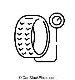 linéaire, vecteur, pneu, symbole., ligne, icône, illustration, inflation, contour, signe, concept