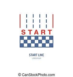 linéaire, voiture, automobile, signe, début, vecteur, ligne, courses, icon., vitesse