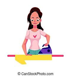 lin, chemise, jeune, illustration, vecteur, femme foyer, joli, femme, repassage, dessin animé