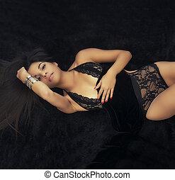 lin, mulher jovem, bonito, exoticas
